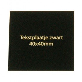 Tekstplaatje zwart 40x40 mm