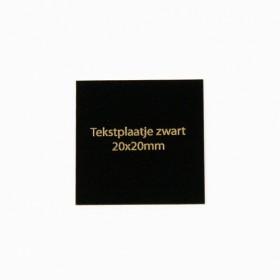 Tekstplaatje zwart 20x20 mm
