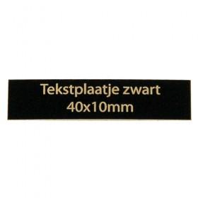 Tekstplaatje zwart 40x10 mm