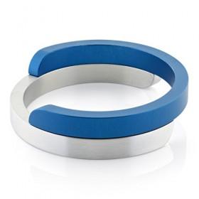 Clic, armband blauw/zilver mat