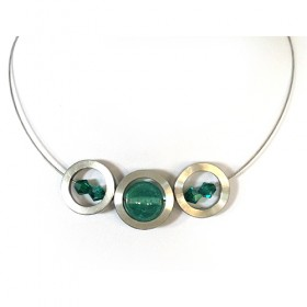 Stommels, 3 ringen/transp.turquoise