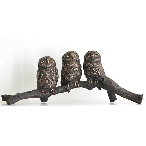 Luxe relatiegeschenken van Artihove - Sculptuur - Brons - Gort, uilskuikens op tak - FRG001953 kopen in de Artihove sculpturen shop - FRG001953