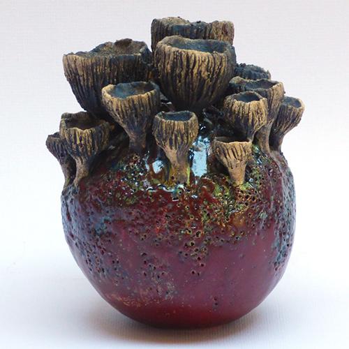 Luxe relatiegeschenken van Artihove - Geschenk Van der wel, paddenstoelbol zwart/bruin - WELM001033 kopen van Artihove   Keramische sculpturen - WELM001033